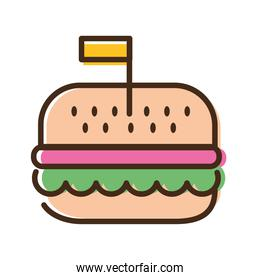hamburger fast food line and fill style icon