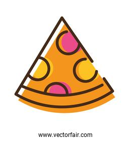 delicious italian pizza fast food line and fill style icon