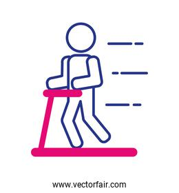 person walking in machine line and fill style icon