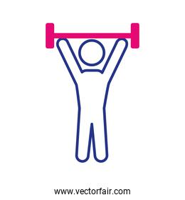 avatar lifting weight line and fill style icon