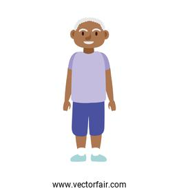 old afro man standing avatar character