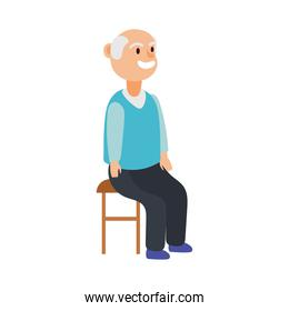 old man seated in chair avatar character