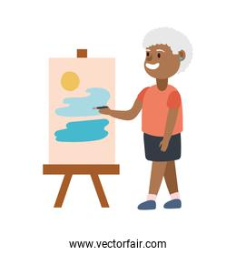 old afro woman painting picture avatar character