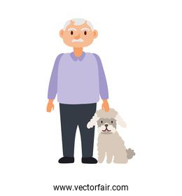 old man with dog pet avatar character
