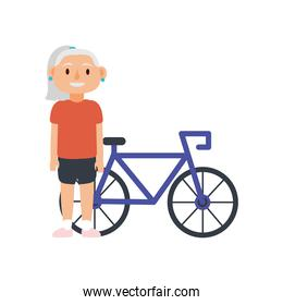 old woman riding bike avatar character