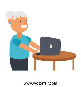 old woman using laptop avatar character