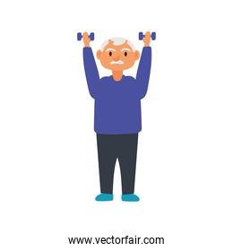 old man lifting dumbbells avatar character