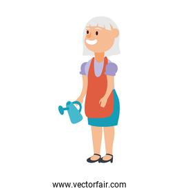 old woman with gardening sprinkler avatar character