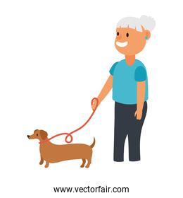 old woman with dog pet avatar character