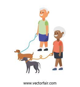interracial old couple walking with dogs mascots characters