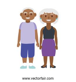 afro old couple persons avatars characters