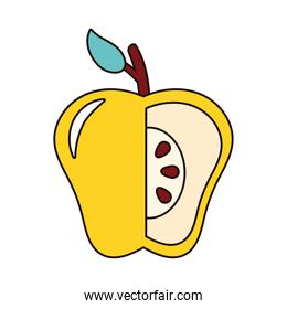 yellow apple without a portion fresh fruit nature icon