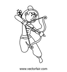 rama god with arch character line style