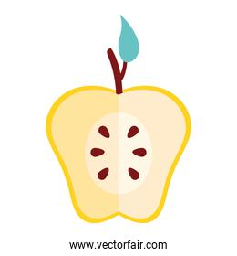 half yellow apple fresh fruit nature icon