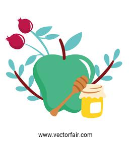 apple and cherries with honey jar