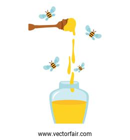 honey in wooden spoon with bees flying and bottle
