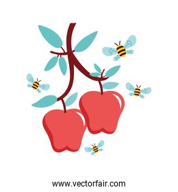apples fruits and bees flying