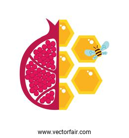 forms of honey sweet with half pomegranate and bee