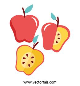 apples red fresh fruits nature icons