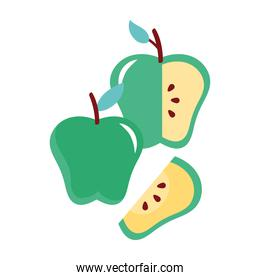 apples green fresh fruits nature icons