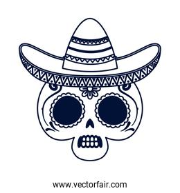 traditional mexican skull head with maricahi hat line style icon