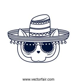 traditional mexican cat skull head with mariachi hat line style icon