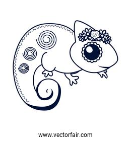 little chameleon with flowers line style icon