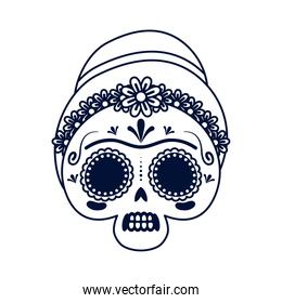 traditional mexican woman skull head line style icon