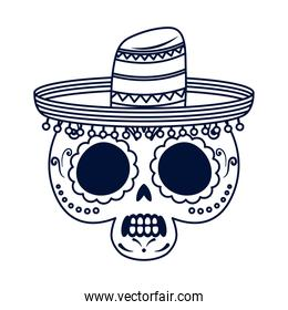 traditional mexican skull with hat head line style icon