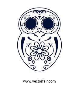 traditional mexican owl skull head line style icon