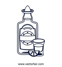 tequila bottle and cup mexican line style design
