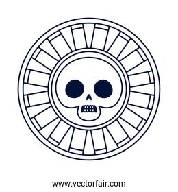 coin with skull mexican ethnic line style icon