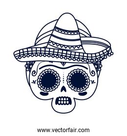 traditional mexican woman skull head with mariachi hat line style icon
