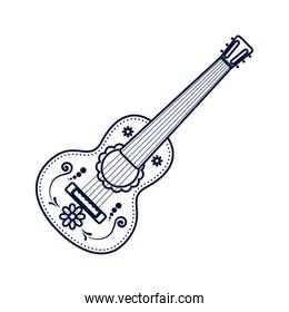 traditional mexican guitar instrument line style icon