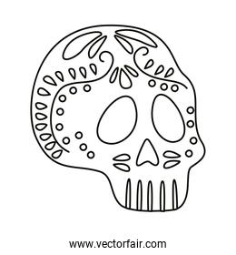 traditional mexican skull head line style