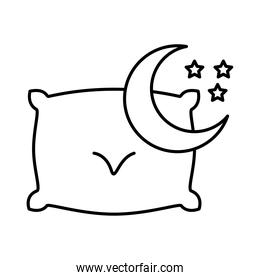 moon with stars and pillow insomnia line  style icon