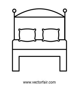 bed with pillows line  style icon
