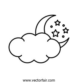 moon with stars and cloud insomnia line  style icon