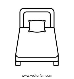 bed with pillow line  style icon