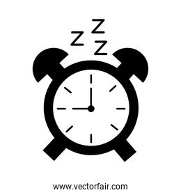 alarm clock with Insomnia z letters silhouette style icon
