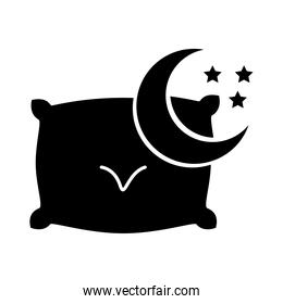 moon with stars and pillow insomnia silhouette style icon