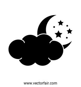 moon with stars and cloud insomnia silhouette style icon