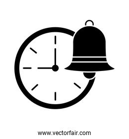 time watch with bell silhouette style icon