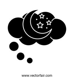 moon with stars in dream bubble insomnia silhouette style icon
