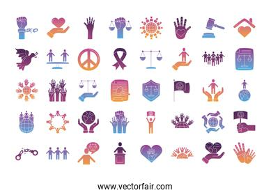 bundle of human rights silhouette style set icons