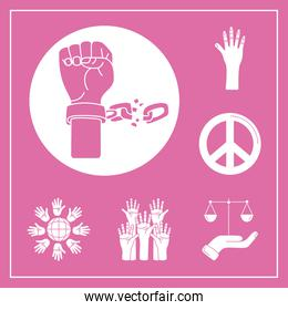 bundle of nine human rights silhouette style set icons