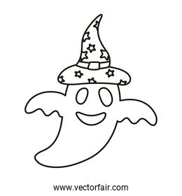 halloween ghost floating with witch hat style line icon