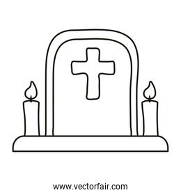 cemetery tomb with cross and candles line style icon