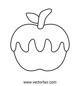 sweet caramel in apple line style icon