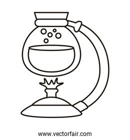 teapot glass with water in burner line style icon